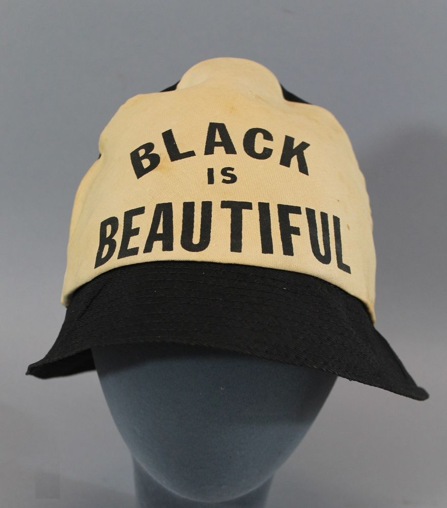 Rare Original Vintage 1960s, BLACK IS BEAUTIFUL, Civil Rights Hat, NR