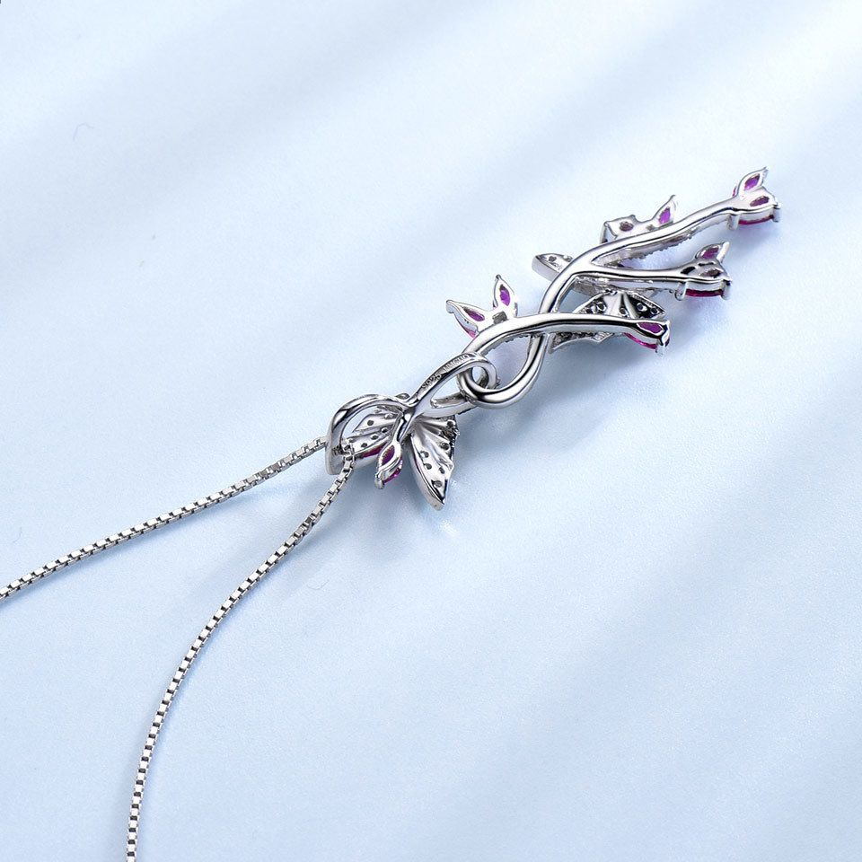 925 Sterling Silver Butterfly Natural Gemstone Black Spinel Ruby Romantic Pendants Necklaces for Women Fine Jewelry