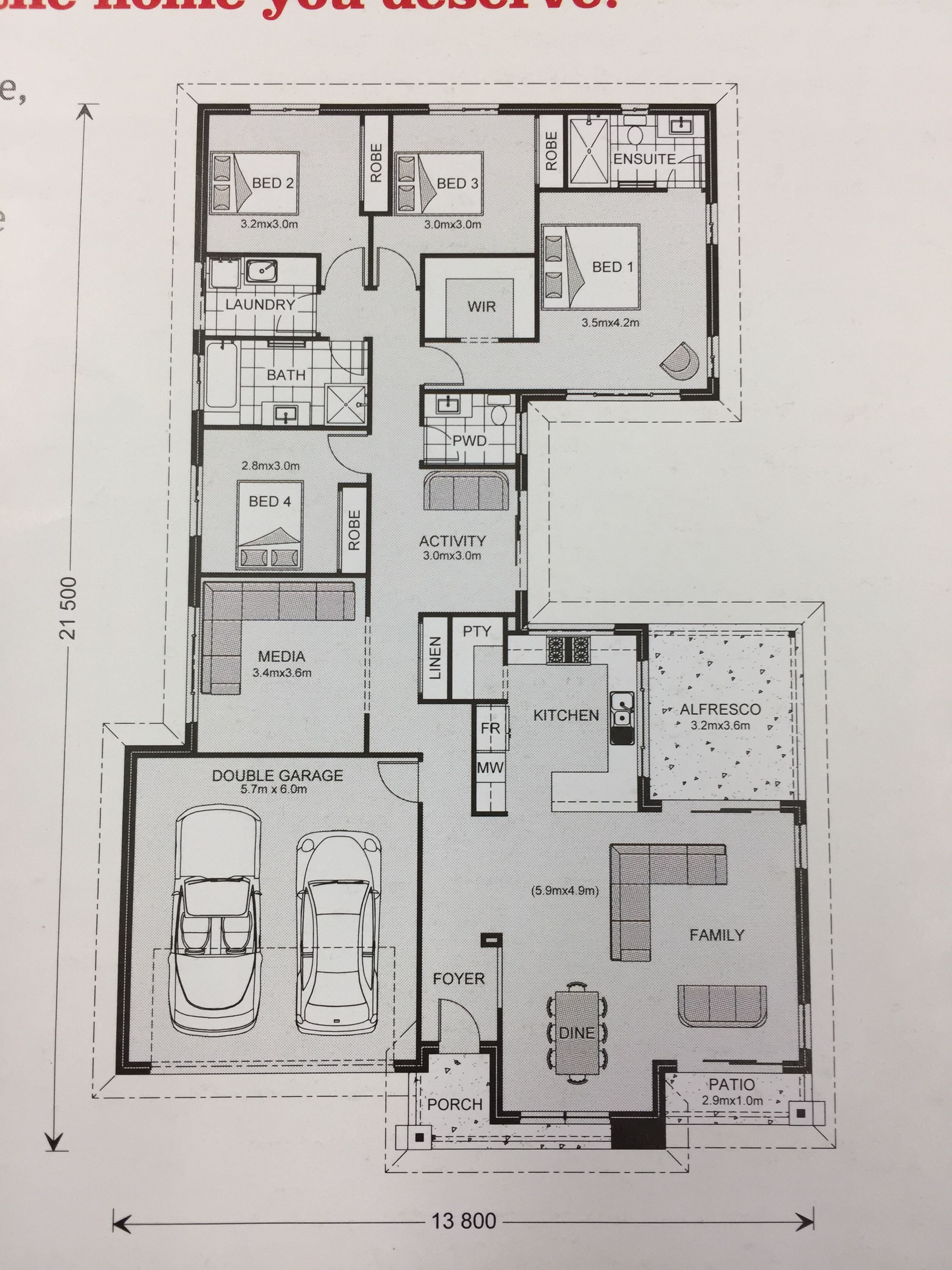 G J Gardner Homes Lakeview 234 Modern House Design Craftsman Floor Plans House Floor Plans