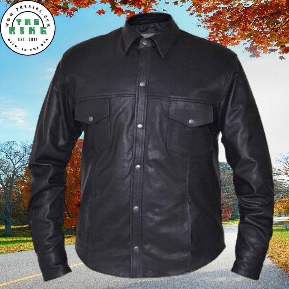 Men S Premium Cowhide Leather Motorcycle Shirt Jacket Gentleman Leather Jacket S 5xl Leather Jacket Men Shirt Jacket Motorcycles Shirt [ 1000 x 1000 Pixel ]