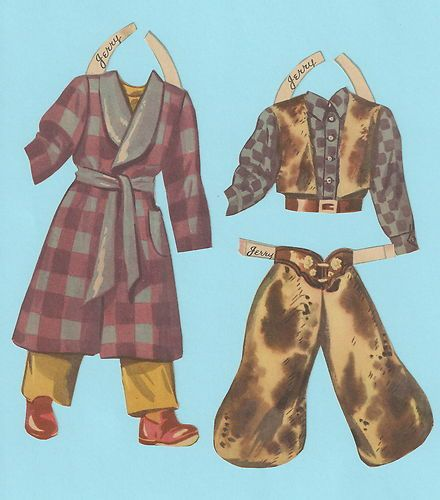 Vintage Paper Doll Outfits Jerry Western Cowboy | eBay