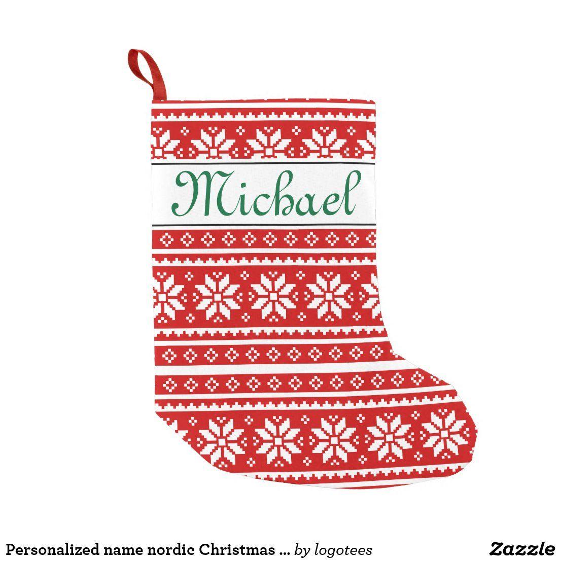Personalized Name Nordic Christmas Stocking Zazzle Com Christmas Stockings Nordic Christmas Personalized Stockings