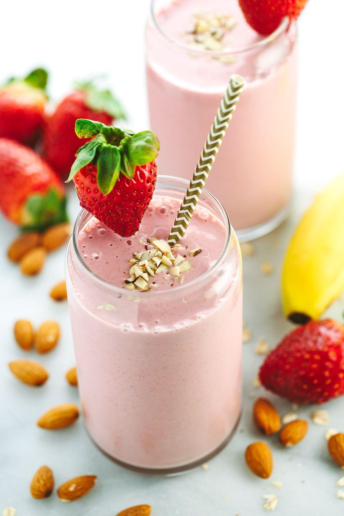 Strawberry Banana Smoothie With Almond Milk Recipe