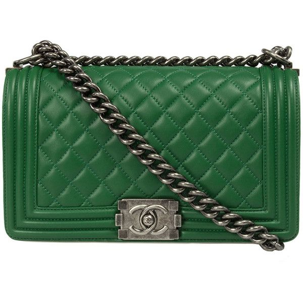 green chanel bags. chanel boy quilted flap bag ($3,995) ❤ liked on polyvore featuring bags, handbags green bags u
