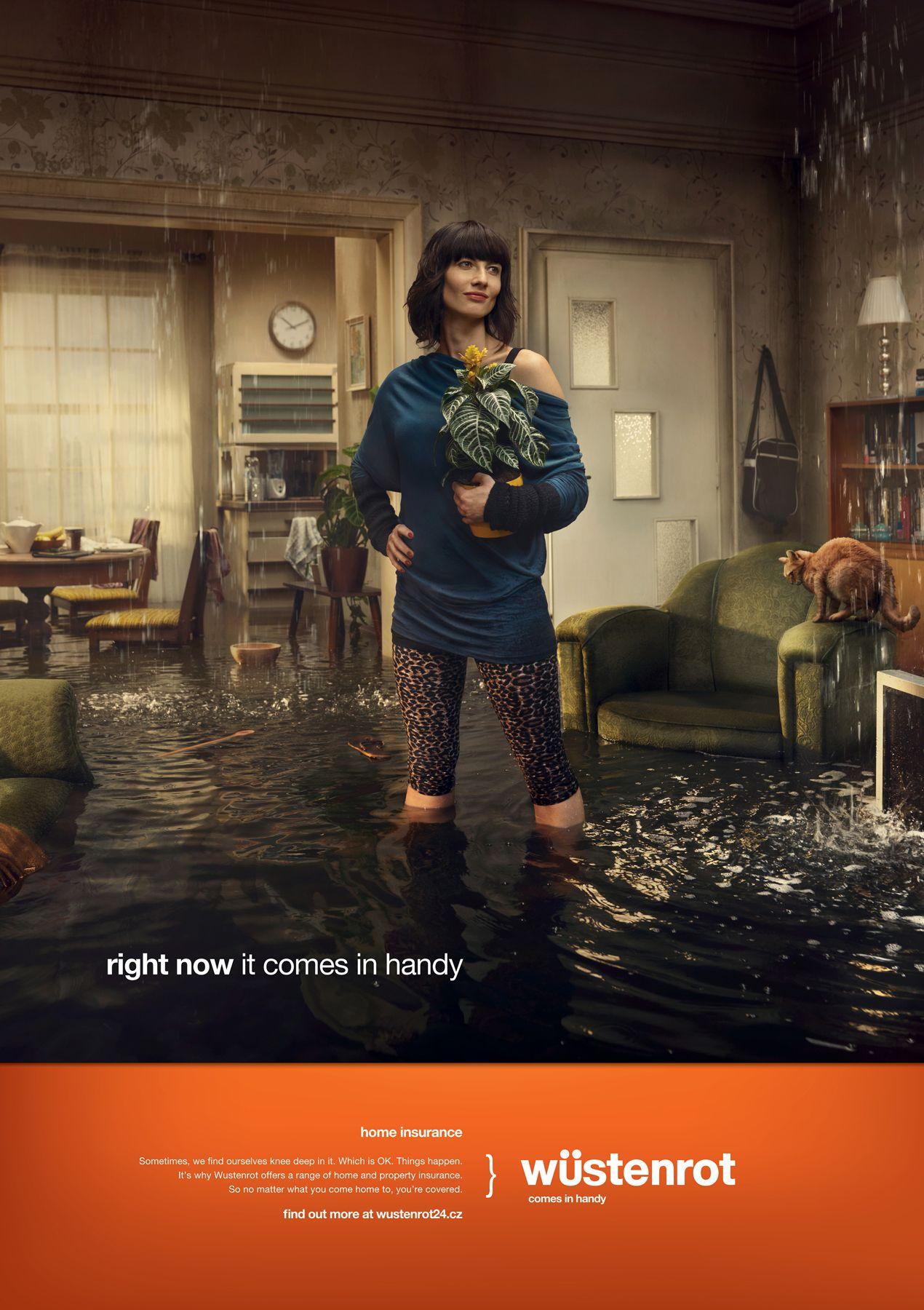 Flooded. Stenrot Prodomov Home Insurance. Print Ads Insurance