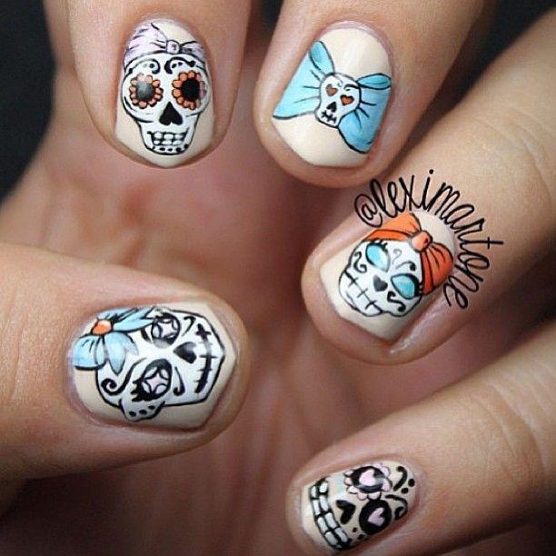 Sugar Skull Nails | Sugar skull nails, Skull nails, Skull ...