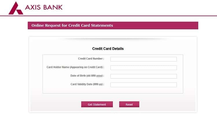 How To Get Axis Bank Credit Card Statement Offline Online