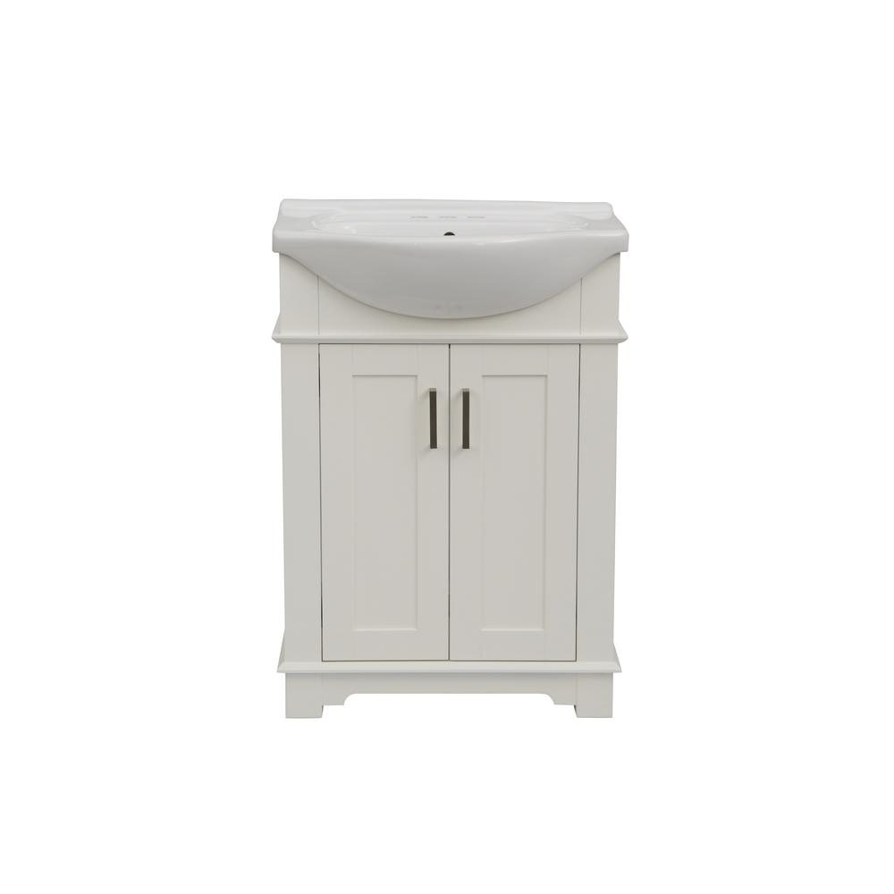24 In W X 17 In D X 34 In H Bath Vanity In White With Ceramic Vanity Top In White With White Basin Wlf6042 W The Home Depot Traditional Bathroom Vanity