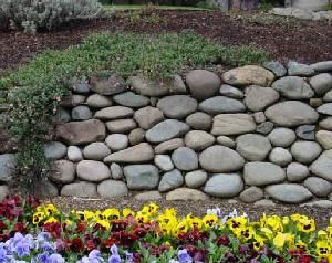 River Rock Dry Stack I Love The Look Of This Wall I Will Be Doing This In My Front Yard Landscaping With Rocks Stone Landscaping River Rock Garden