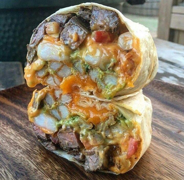 California Burrito Steak Shrimp Fries Pico Guacamole And Cheese Food Pretty Food Shrimp Enchiladas Recipes