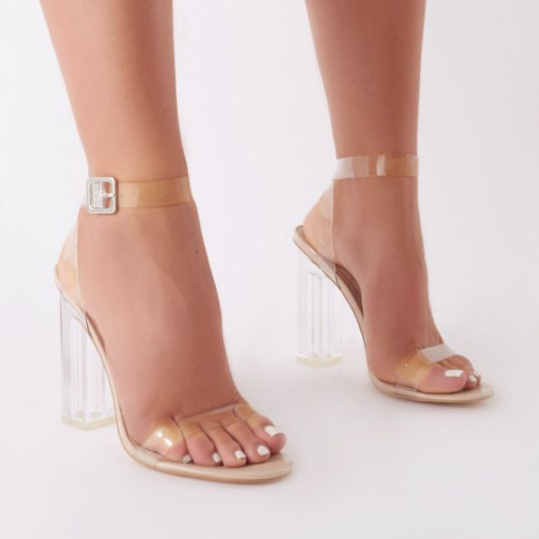 d8a0e4e89b6 WOMENS SANDALS LADIES CLEAR HEEL FASHION PARTY PERSPEX SHOES STRAPPY SIZE  NEW