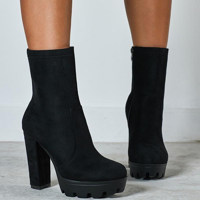 Women Black Suede Chunky Heels Short Platform Boots Womens Ankle Boots Platform Heels Chunky Ankle Boots Fashion