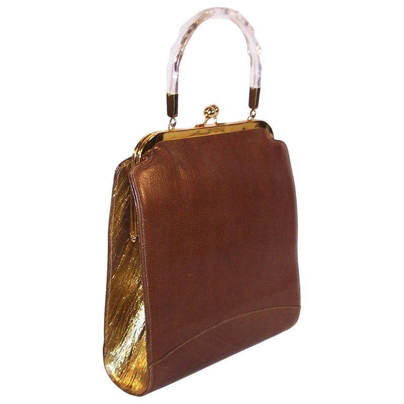 Glitz   Glam 1950 s Stylecraft Leather   Gold Textured Vinyl Handbag ... 803dc0ecff020