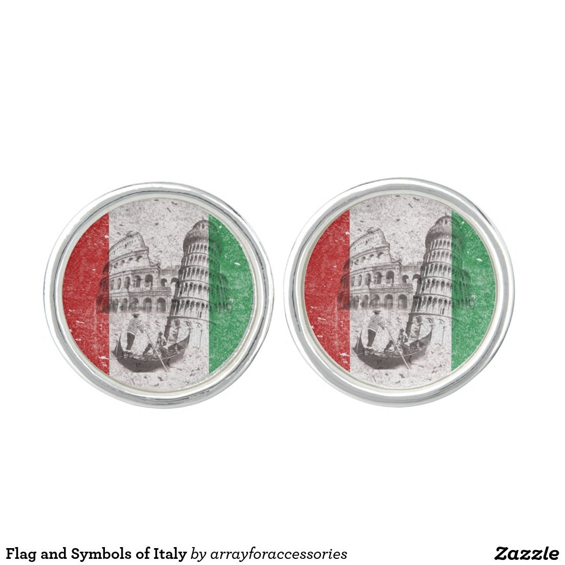 Flag And Symbols Of Italy Sterling Silver Plated Cuff Links Are
