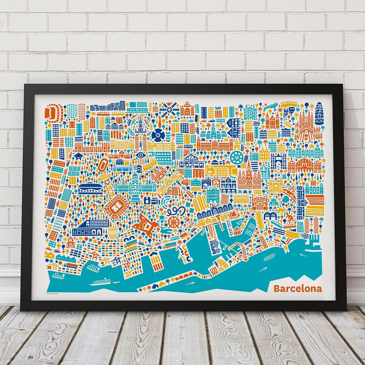 La mappa illustrata di Barcellona