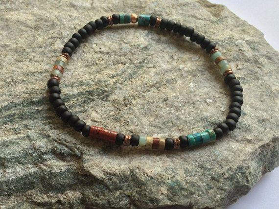 Womens Bracelet Kingman Turquoise Assymetrical Bracelet Mens Southwestern Jewelry Natural Turquoise Bracelet Heishi Boho Minimalist