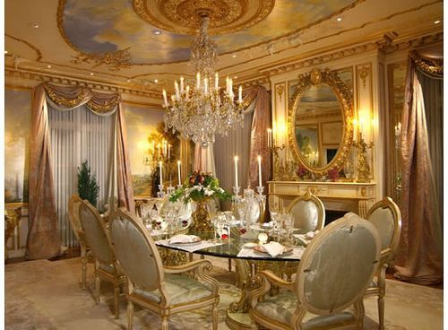 Rococo ceiling design, and dining room layout
