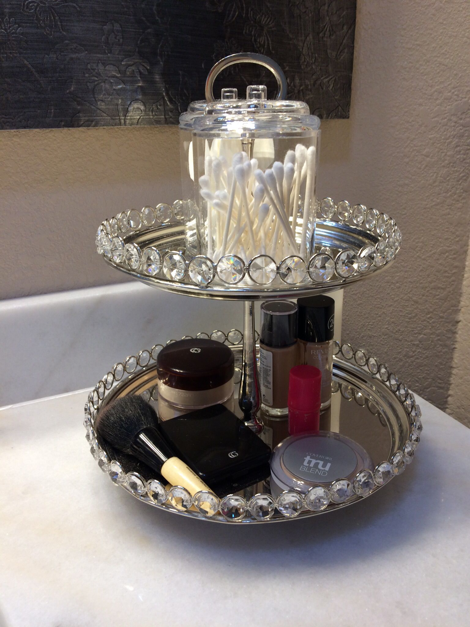 Pretty cake stand to organize bathroom counter source for Pretty cake stands