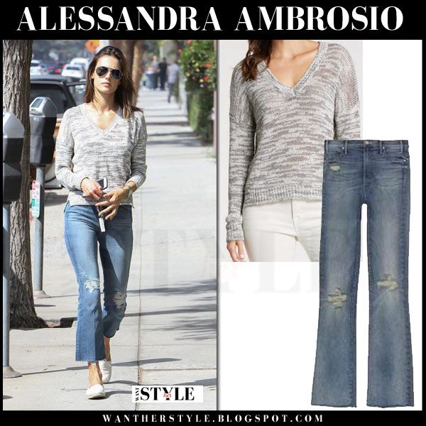 Alessandra Ambrosio in grey sweater and flared ripped jeans ...