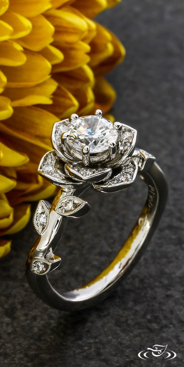 embossed engagement rings blooming rose with collection ring diamond carvings etched