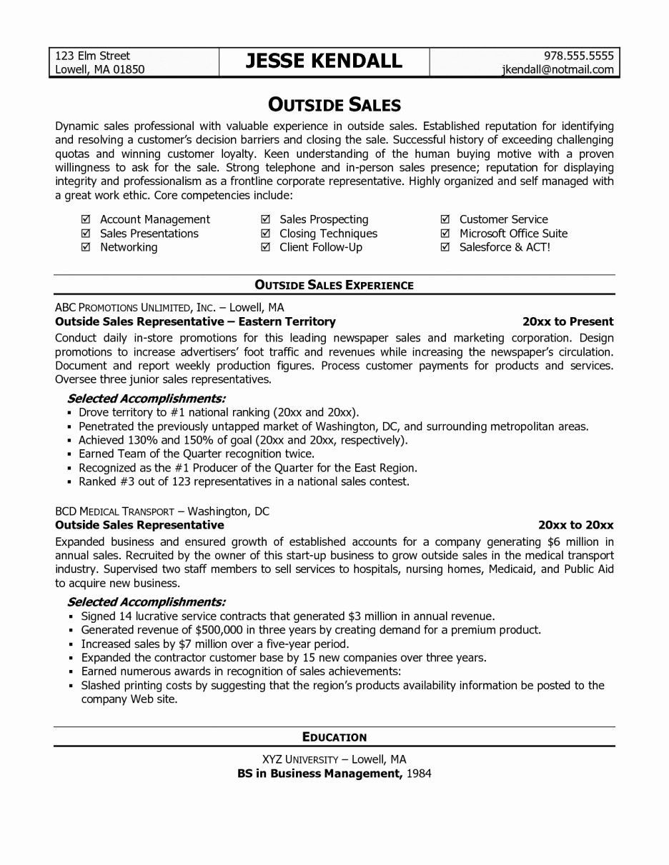 Lovely Outside Sales Resume Template in 2020 Sales