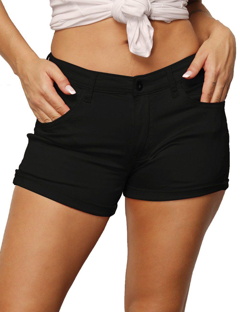 168d6cbb2f Haola Womens Casual Stretchy Shorts Juniors Summer MidRise Shorts ...