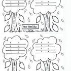 The large leaves will be the main numbers of these fact family trees.  Good FALL handout.  Maybe a bulletin board master by making laminated number...