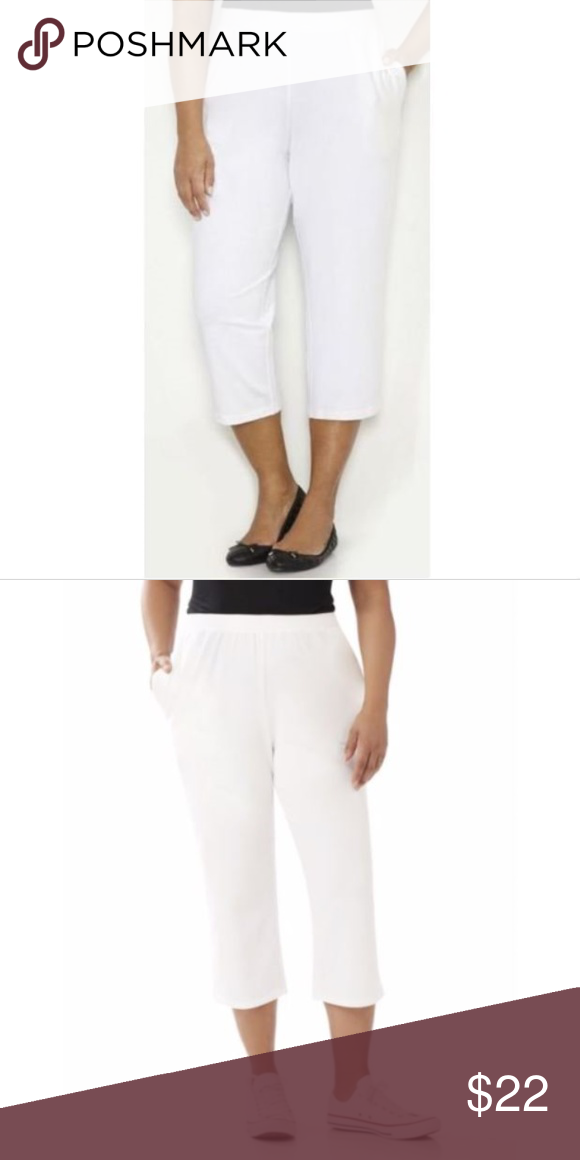ead68cde2681d Catherine s Suprema Elastic Legging Capri Pants Catherine s Suprema  Collection White Elastic Legging Capri Pants 5X