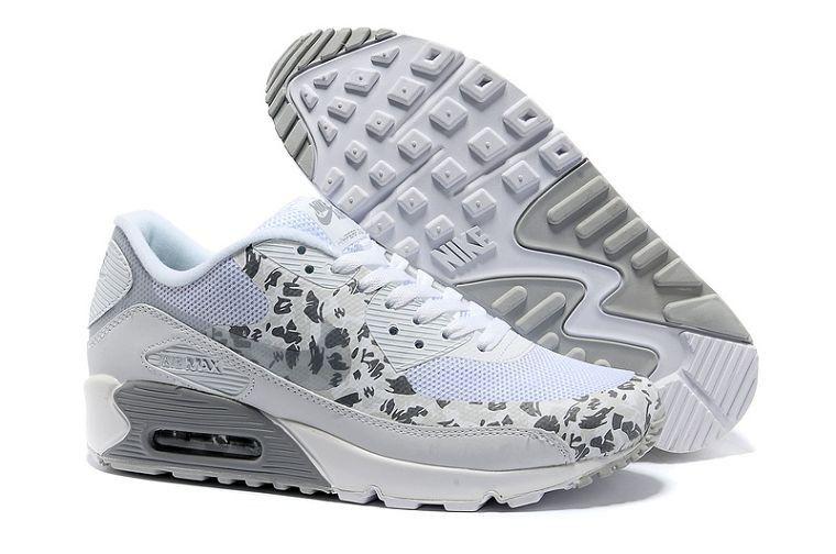 original k pa Nike Air Max 90 Hyperfuse Dam Premium Leopardm nster Vit  Silver Utbildare Skor