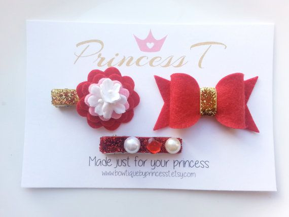 Holiday Red/Gold Trio Set Red Flower Hair by BowtiquebyprincessT