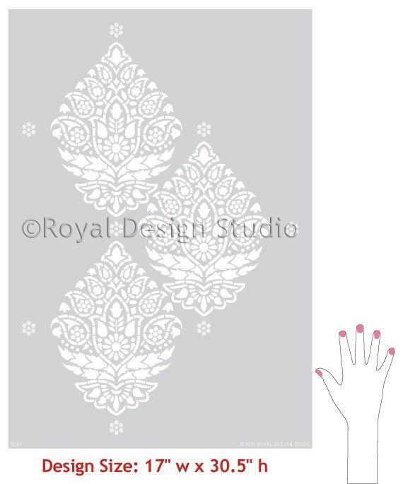 Wall Stencil Pattern Indian Paisley Damask by royaldesignstencils