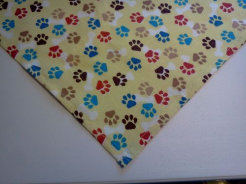 Dog Bandana Slide On Tie On Yellow Paw Prints Dog Apparel Scarf XS S M L