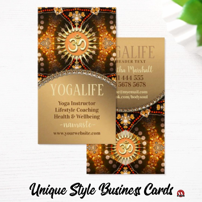 Yoga Life Caramel Gold OM New Age Business Card   Yoga