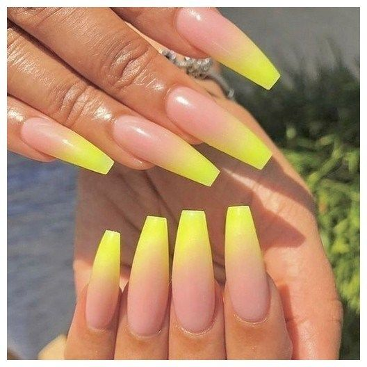 27 Most Eye Catching Different Color Coffin Nails For Prom And Wedding 00058 Armaweb07 Com Nail Art Ombre Yellow Nails Design Ombre Acrylic Nails