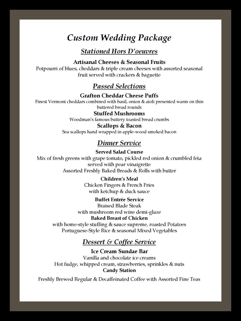 Custom Wedding Menu From The Essex Room Clambakes And