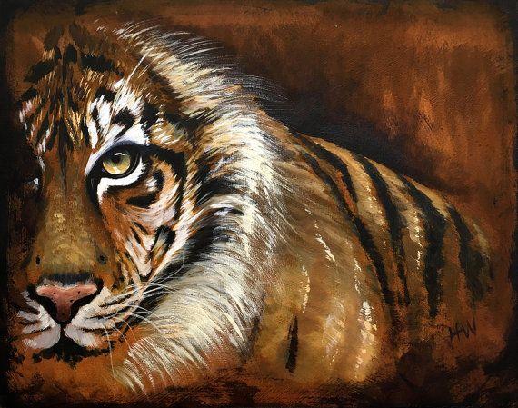Tigers Original Acrylic Painting On Wood