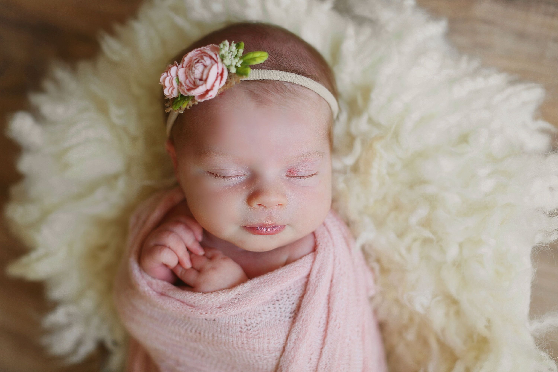 Newborn Girls Stretch Knit Photography Photo Props Baby Wrap Flower Headband New
