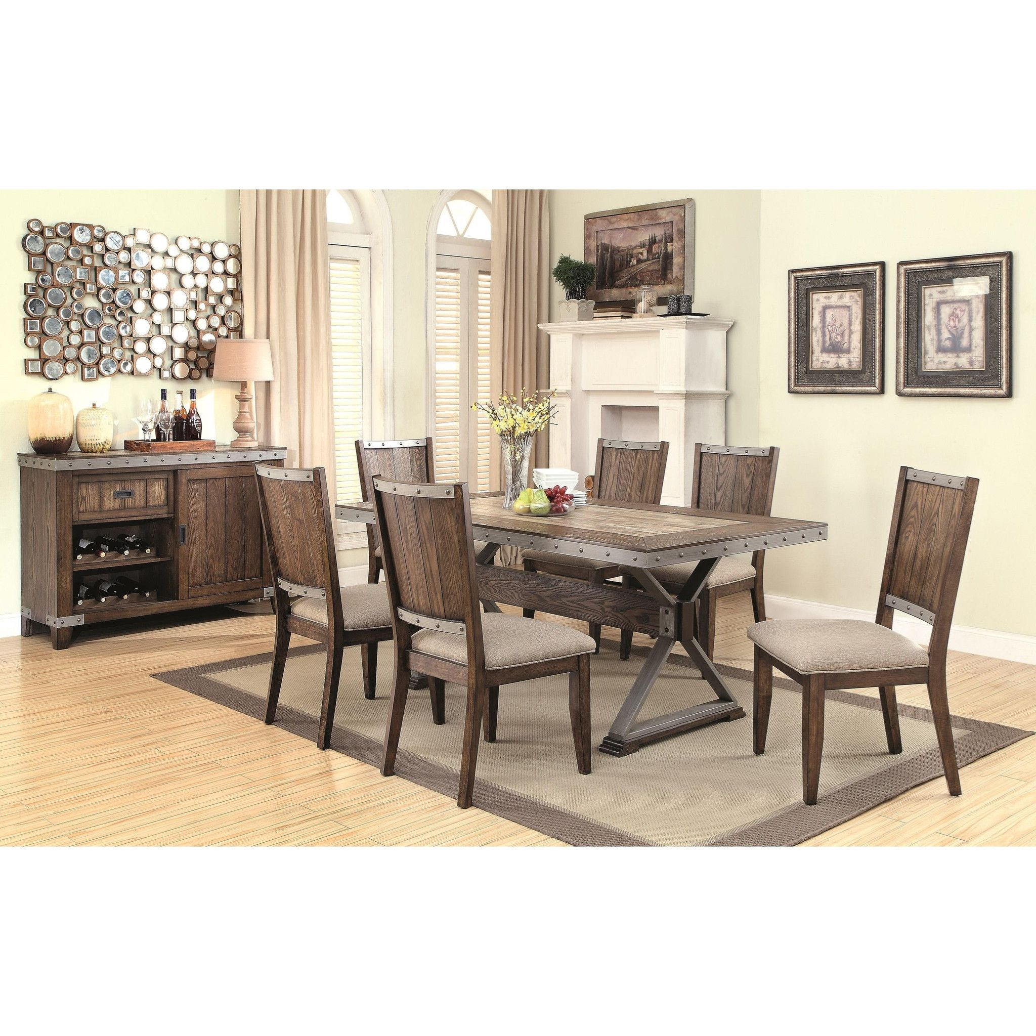 Beckett Rectangular Rustic Dining Table Set with