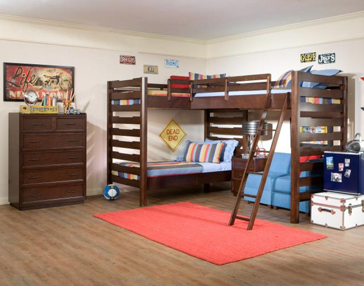 Corner twin loft bed  Legacy Classic Kids Solutions Twin Corner Triple Loft Bedroom Set
