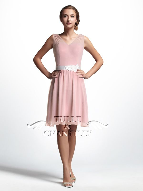 Sheer V-neck Pale Pink Chiffon Knee Length Bridesmaids Dress ...