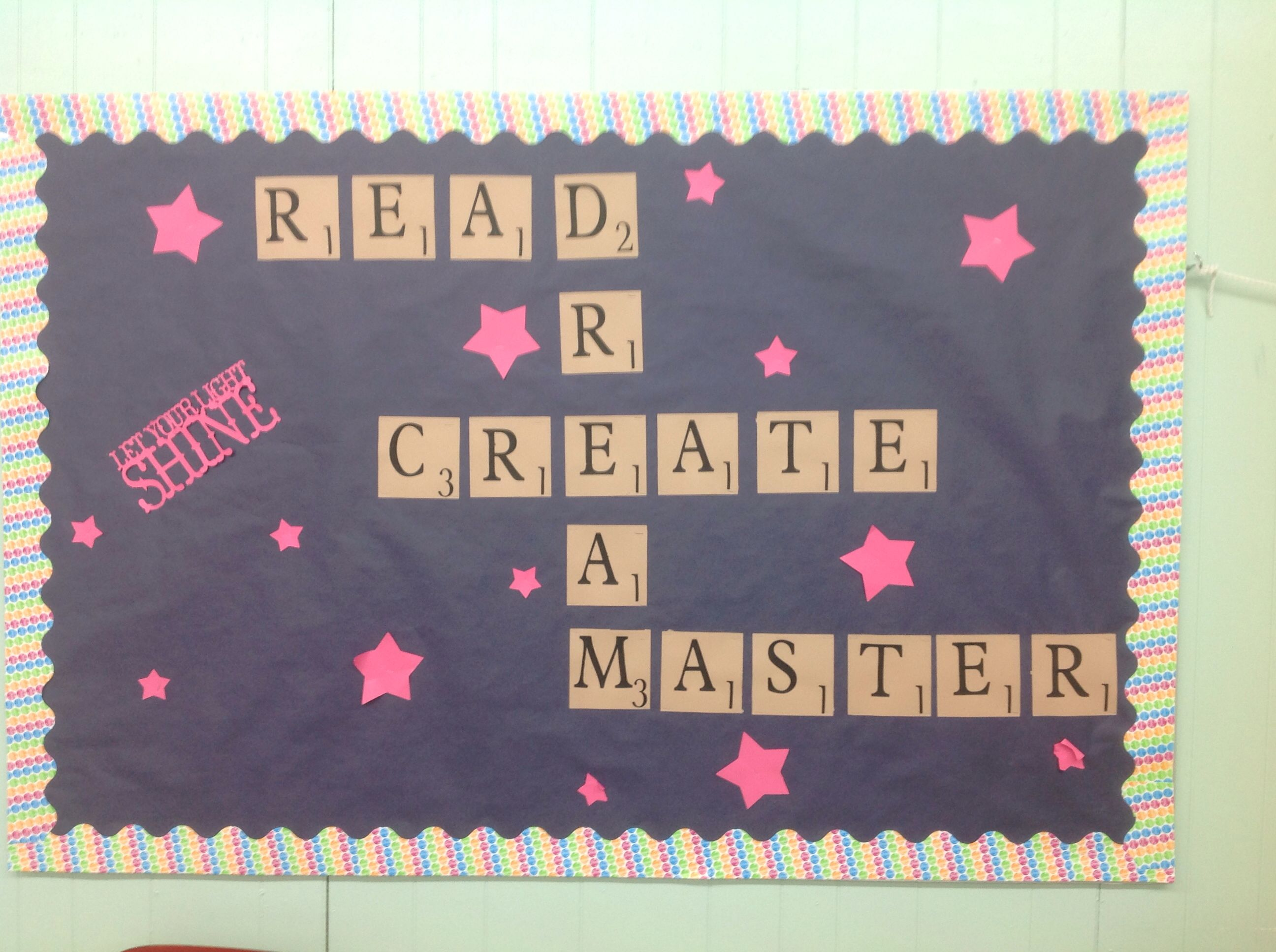 Scrabble themed bulletin board