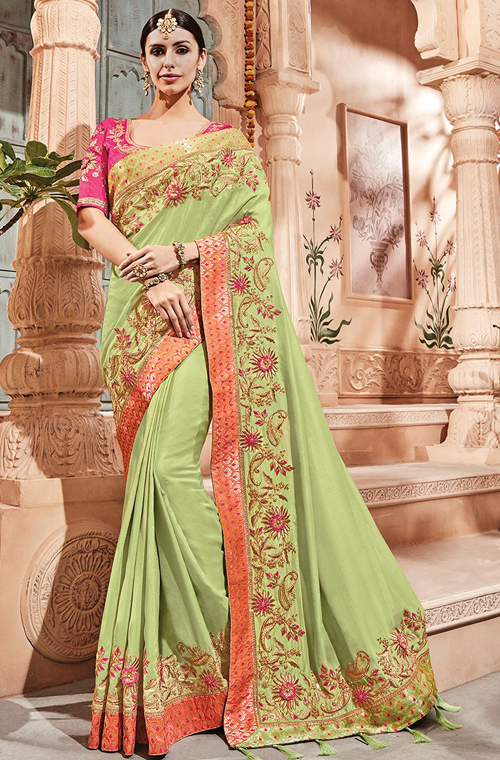 47815832a5c956 ... Peach and Peach Silk designer Saree is available with contrast Rust  color Silk blouse. This lovely Saree is enhanced with heavy hand embroidery  work.