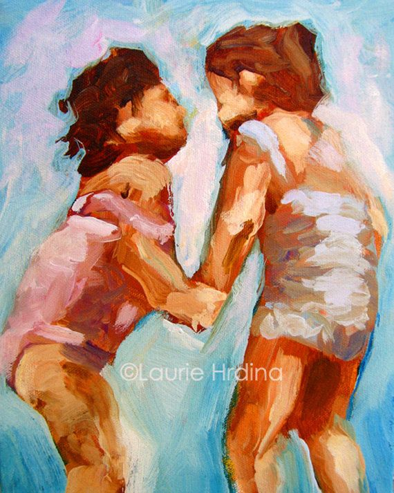 Little Girls Painting Print 8 x 10 Summer Swim by LaurieHrdina