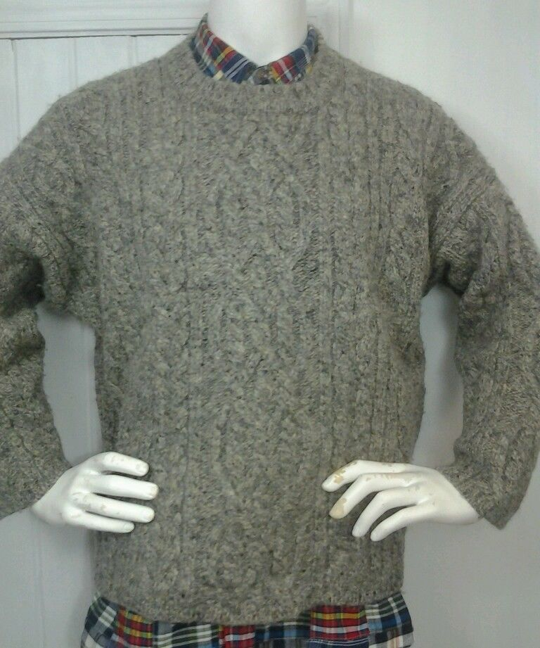 Mens Abercrombie and Fitch cable knit sweater Sz L Heavy Shetland ...