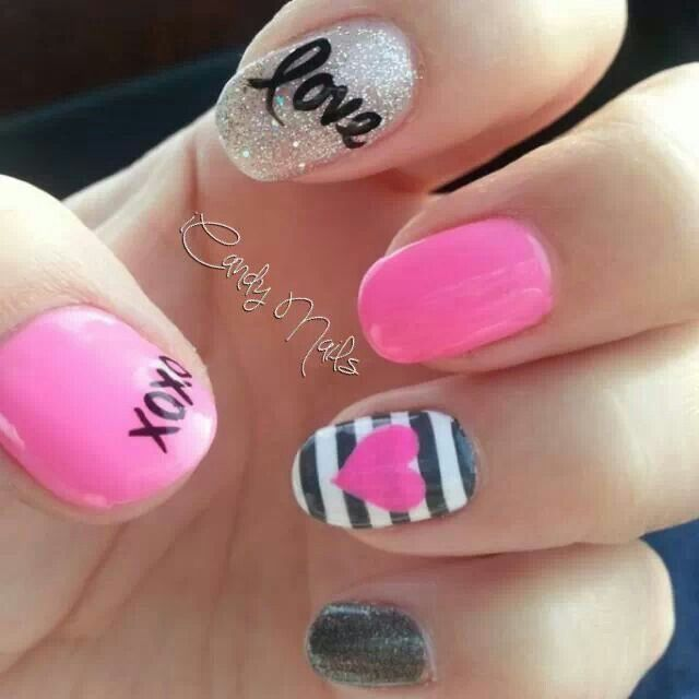 Easy Valentine\'s Day Nail Art Ideas   Manicure, Beauty nails and ...