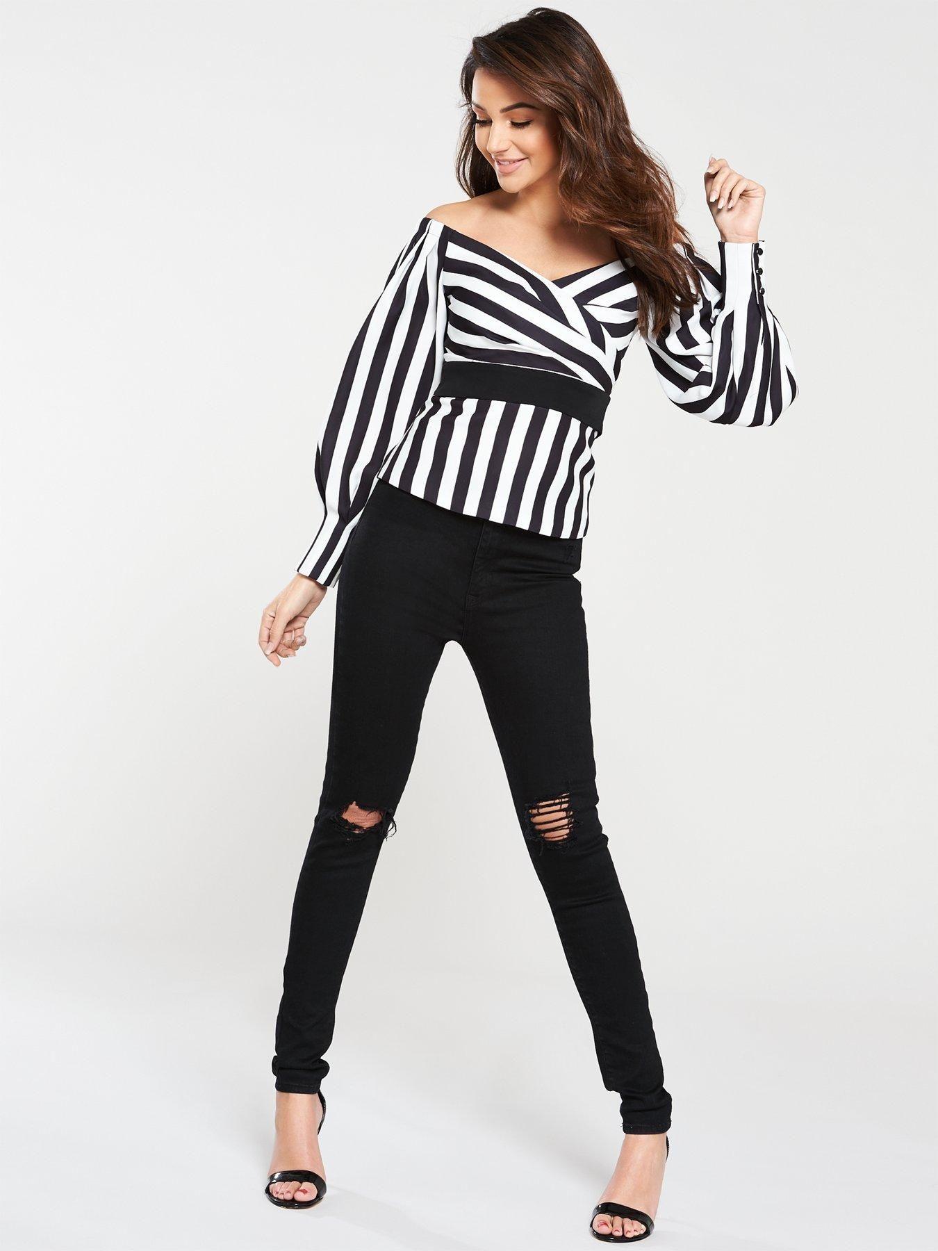 6eb2bccc485 Michelle Keegan Bardot Stripe Blouse - Stripe | littlewoodsireland.ie