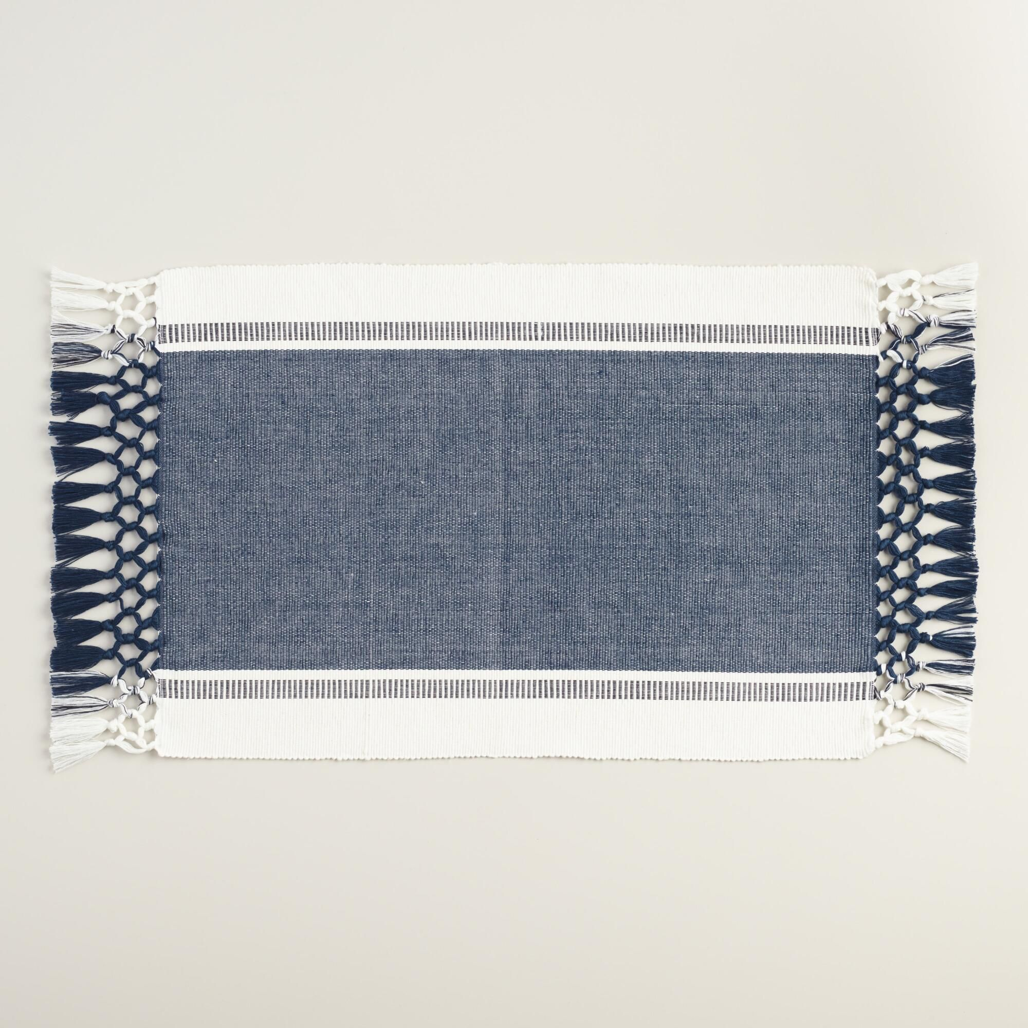 Set Out These Americana Woven Placemats At Your Next Summer Gathering Their Denim Blue And White Color Blocking Triple Knotted Fringe Has A Way Of