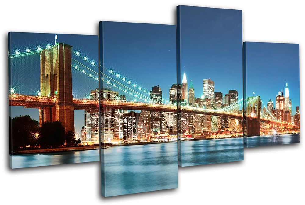 New York Skyline Bridge City Multi Canvas Wall Art Picture Print Va Wall Art Pictures New York Canvas Wall Canvas