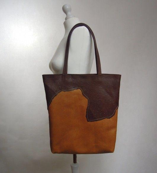 04a04c35e0fb5 torby na ramię - damskie-Duża Skórzana Torba Na Ramię - Ruda z Brązem