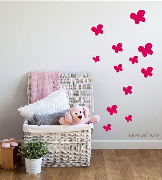 Mariposas butterfly pink mariposas fuxia decoraci n for Pegatinas pared habitacion nina